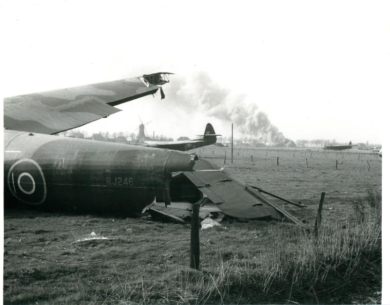 Gliders of 6th Airlanding Brigade on landing zone near Hamminkenn Station, March 1945.