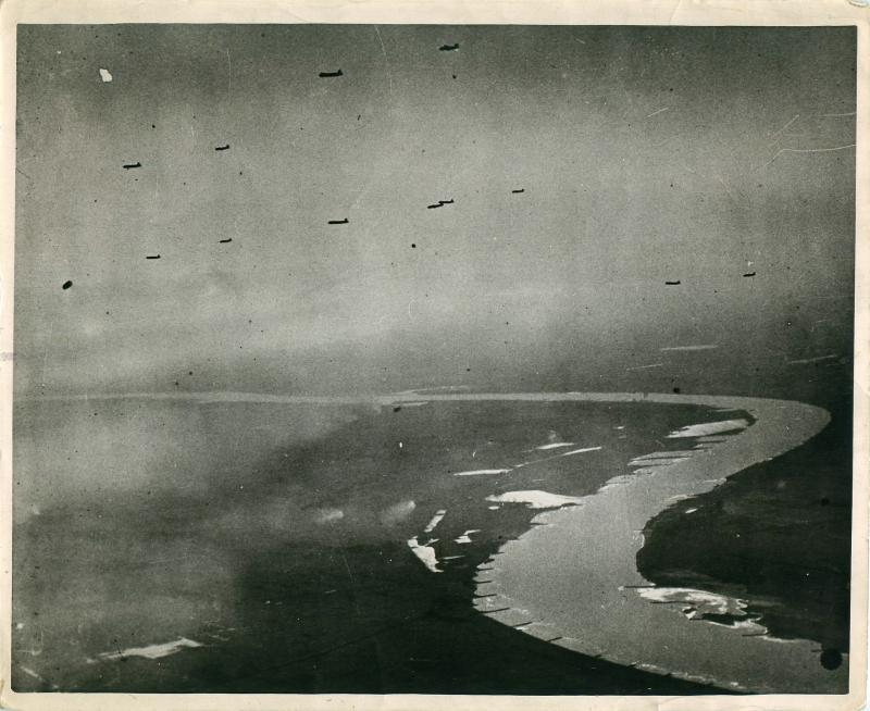 RAF Stirlings towing Horsa gliders across the Rhine.