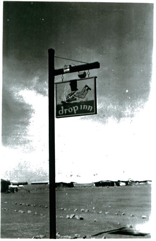 NAAFI sign, 3 PARA, Shandur camp, Canal Zone, 1952.