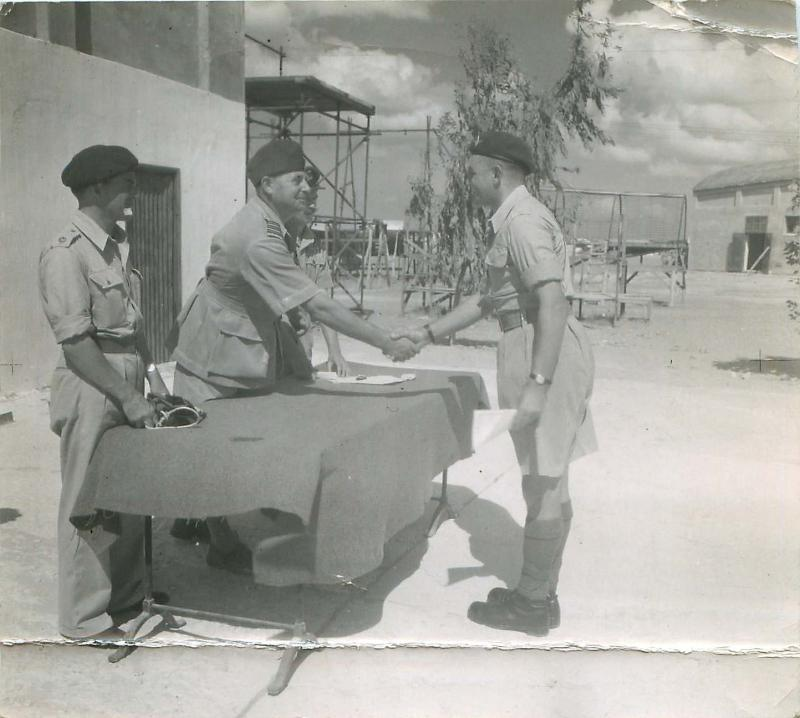 Pestell's wings presentation at Ramat David parachute school, Palestine 1947.