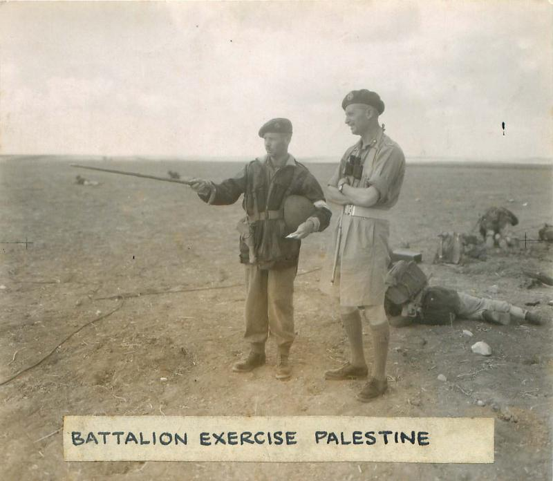 Officers and men on a battalion training exercise in Palestine.