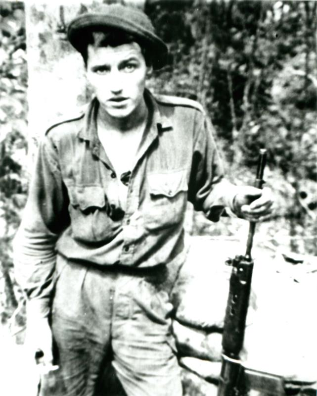 Paratrooper from B Comapny, 2 PARA at Pluman Mapu camp, Borneo.