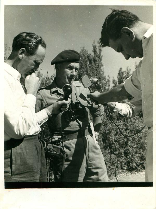 Brigadier Tubby Butler talks to the press about Op Sparrowhawk, Cyprus, October 1956