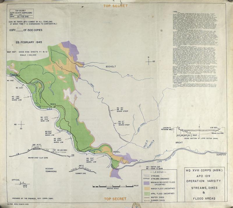 Map and plan for HQ XVIII Corps, Operation Varsity