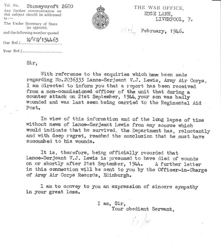 Letter to Lance Sergeant Lewis' father informing him of the