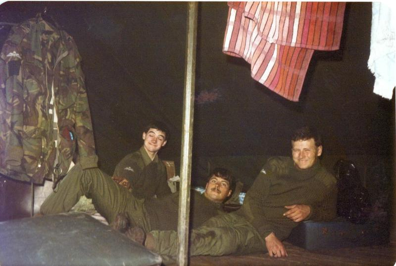 Men of A Coy, 4 PARA having a rest in a luxury tent in Hamlin, Germany, 1980s