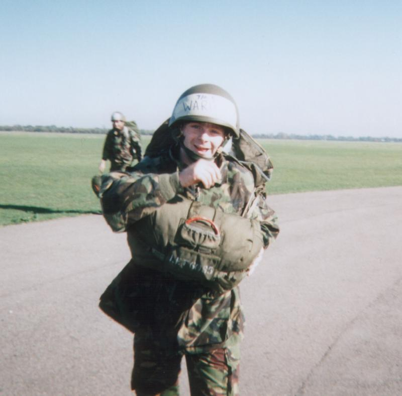 Chris of 16 Detachment 4 Para after his first Parachute drop