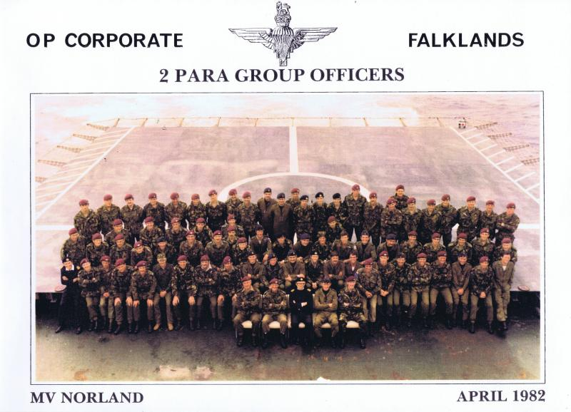 Group photo of 2 Para Group Officers, MV Norland, April 1982
