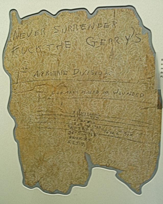 Section of Wallpaper taken from 34, Pieterbergseweg displaying Tony Crane's sniper score and defiant message