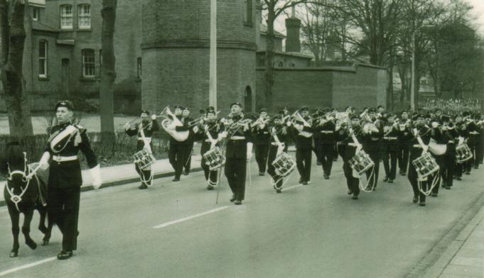 September 1957, 1 Para marching out of Baaracks to get the Freedom of Aldershot the Mascot leads the way