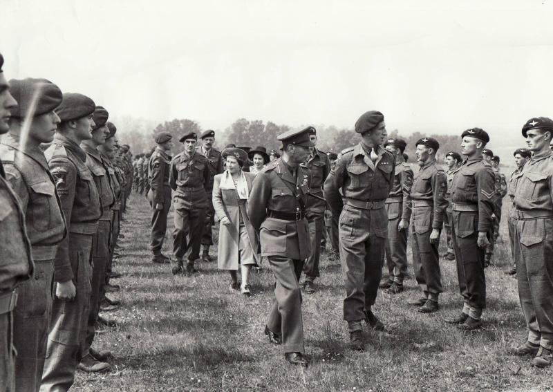 Col Pine-Coffin escorting the King & Queen during an inspection of 7 Bn 1943