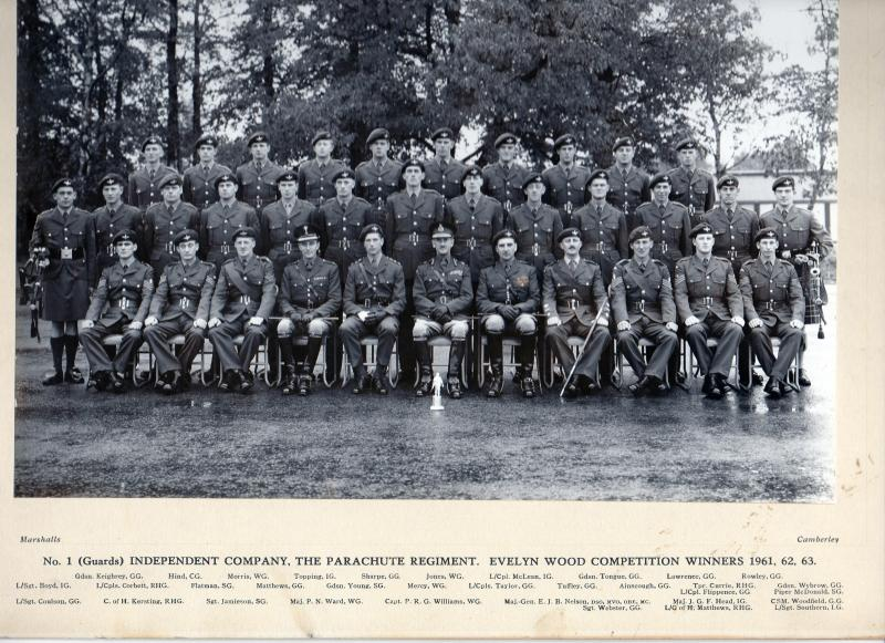 "Group photograph of Guards Parachute Company, Evelyn Wood Competition Winners 1961, 1962 and 1963 -  ""Catch us if you can!"""