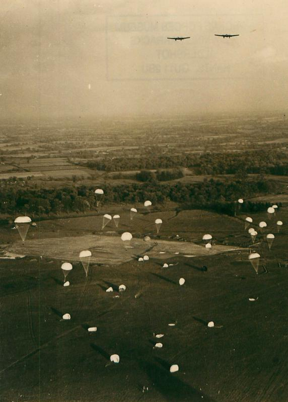 Parachutists descend on a DZ a Tatton Park, after exiting Whitley bombers