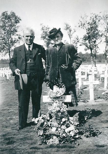 William and Daisy Johns at their son Robert Johns' grave
