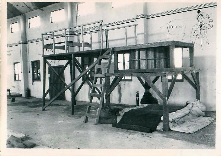 Wooden indoor ground training apparatus at Ringway.