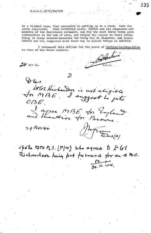 Mbe Citation And Escape Evasion Report For Lt John England