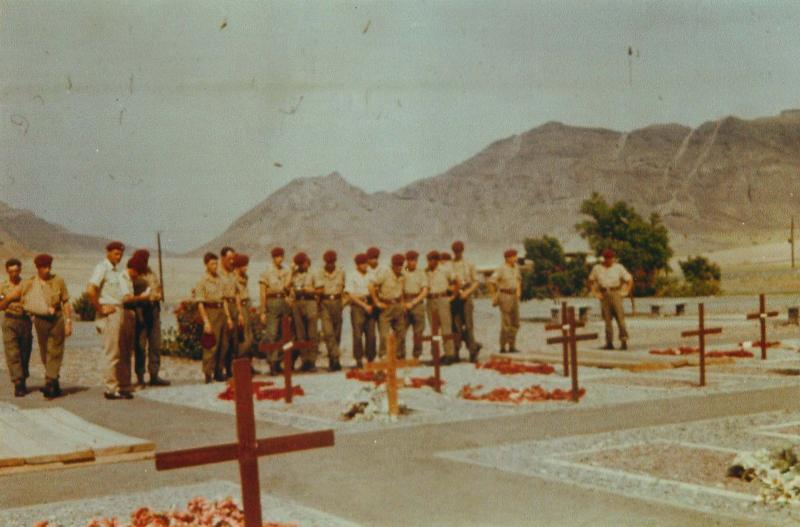 Members of 1 PARA attending a service at little Aden Cemetry, Aden, 1967