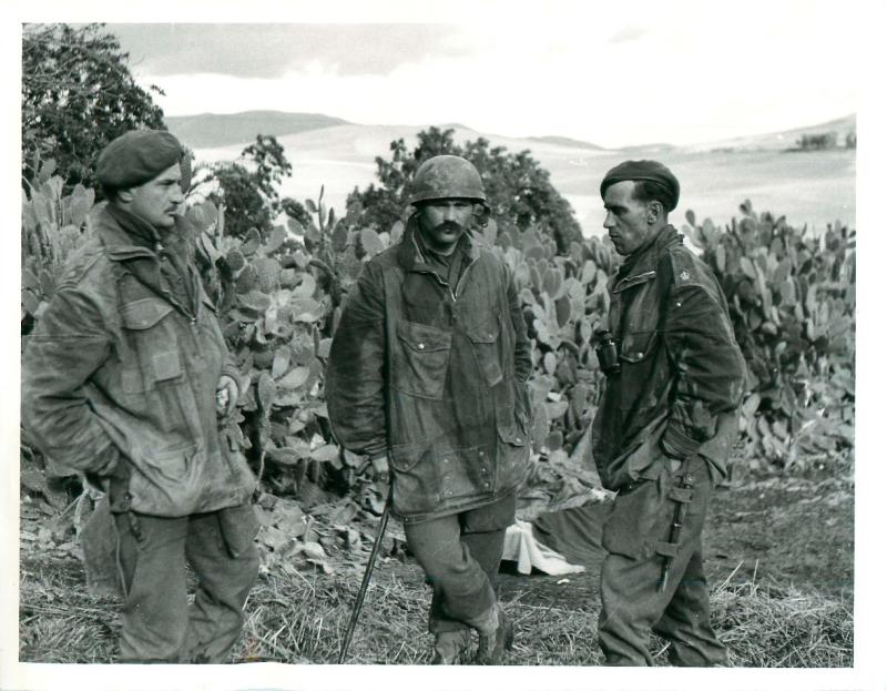 Three officers of 1st and 2nd Parachute Battalion stand in the Beja area of Tunisia.