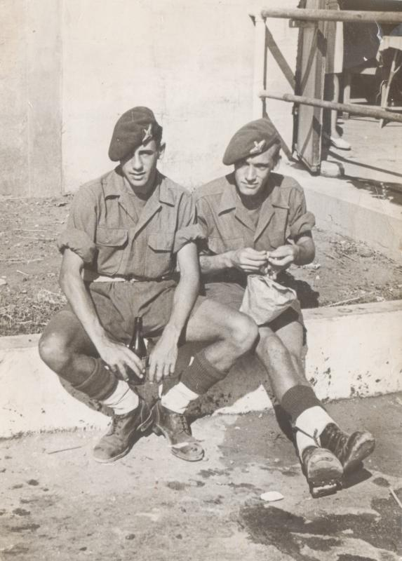 Stan Payne on the left with Cyril Parkins (Squibs) in Palestine 1946 6th Battalion RWF