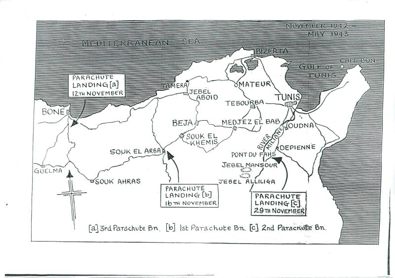 Map of North Africa showing landing zones of 1st, 2nd and 3rd Parachute Battalions.