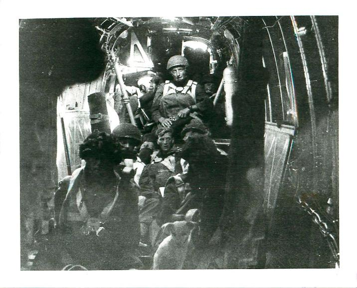 Men of 2 PARA inside a Halifax aircraft in Palestine.
