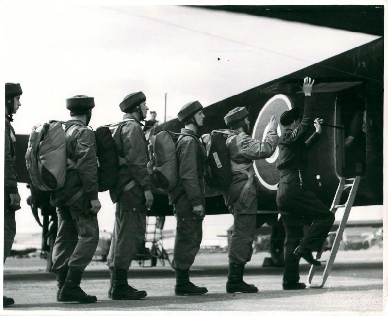 Paratroops recruits emplane for the first time.